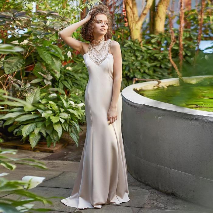 Платье женское MINAKU, цвет бежевый, размер 46 - фото 933483