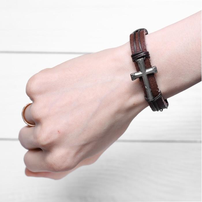 Браслет церковный «Крест литой» (коричневый), 2,2 х 17,5 см - фото 234149055