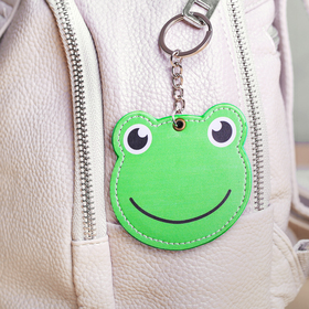 """Keychain-mirror, faux leather """"Frog"""", 8 cm"""