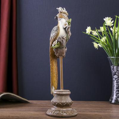 """Сувенир полистоун """"Попугай с зеркальными вставками на цветочной ветке"""" 32,5х13,5х9,3 см"""