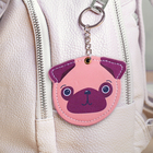 "Keychain-mirror, faux leather ""Dog"", 8 cm"
