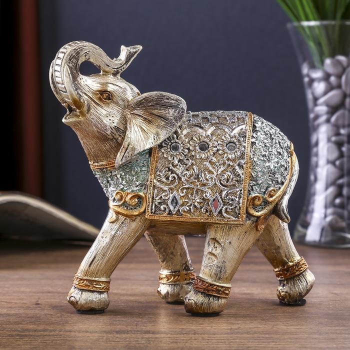 """Сувенир полистоун """"Серебристый слон в ажурной бирюзовой попоне с цветами"""" 15,4х6,7х14,5 см - фото 798177085"""