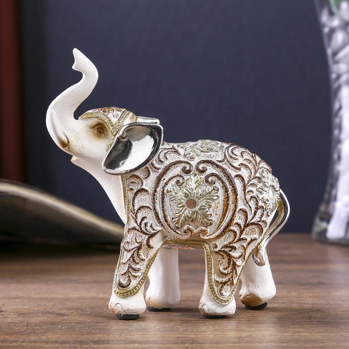 """Сувенир полистоун """"Белый слон с ажурным цветочным рисунком"""" 10,5х4,3х11,5 см - фото 798177153"""