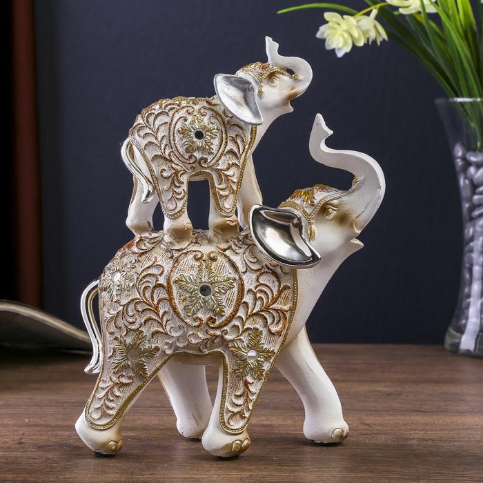 """Сувенир полистоун """"Белые слоны с ажурным цветочным рисунком"""" 19,5х6х14,6 см - фото 798177232"""