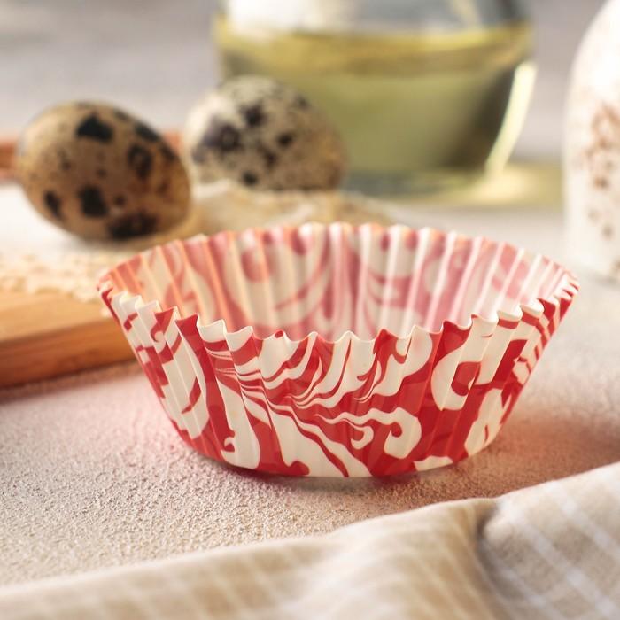 """Форма для кекса """"Красный узор"""", 50 шт, d5 см"""