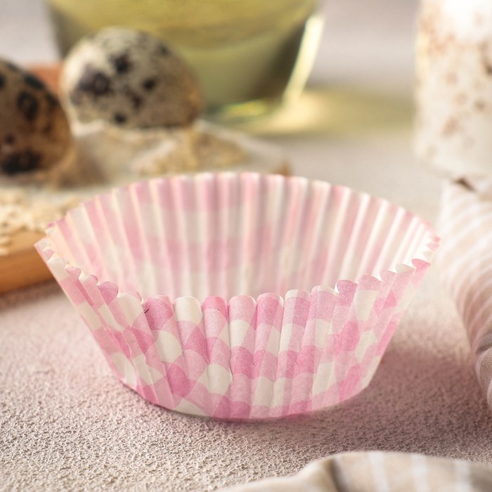 """Форма для кекса """"Розовая клетка"""", 50 шт, d5 см"""