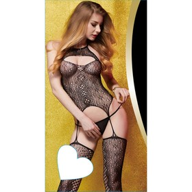 Catsuit mesh suit with imitation stockings