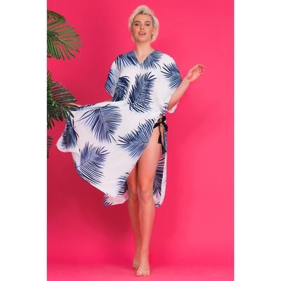 Туника пляжная MINAKU Flora, размер 70 × 110 см, цвет белый/синий