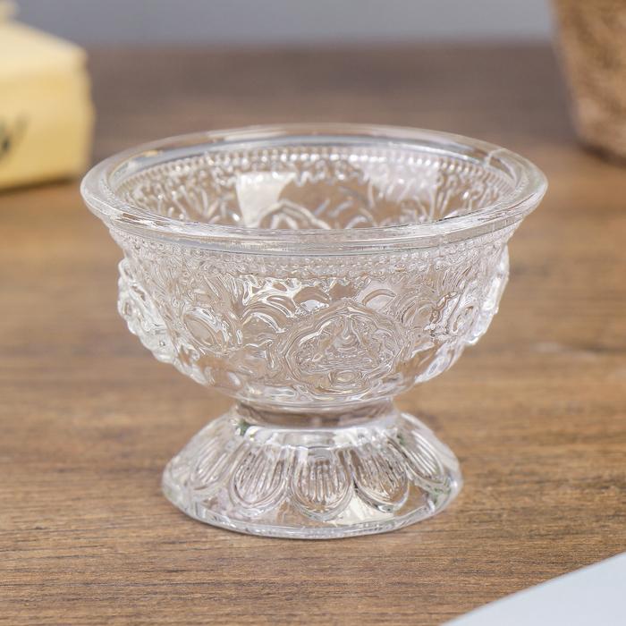 Подсвечник стекло на 1 свечу ''Креманка с узорами'' прозрачный 5,2х7,2х7,2 см   4103826