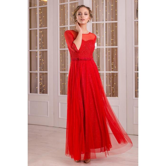 """Платье женское MINAKU """"Dolce"""", длинное, размер 44, цвет бордовый - фото 933758"""