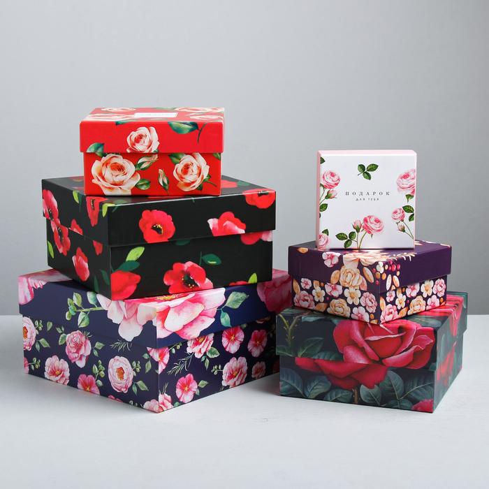 Набор подарочных коробок 6 в 1 «Цветочный сад», 8 × 8 × 4.5‒18 × 18 × 9.5 см