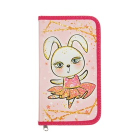 """Pencil case 1 section 115*205 Lam.cards P-26 Calligrata """"Bunny with sparkles"""""""