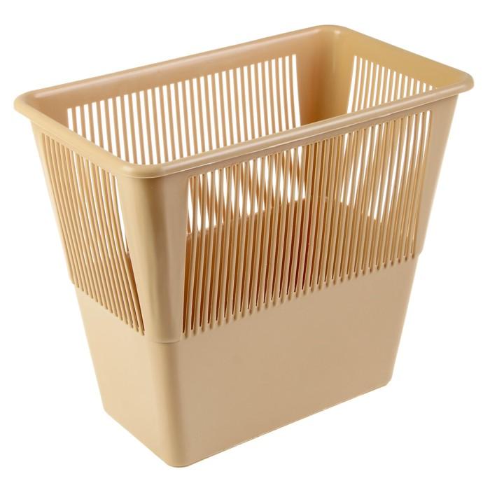 Корзина для бумаг 12 литров, прямоугольная, бежевая - фото 554543016
