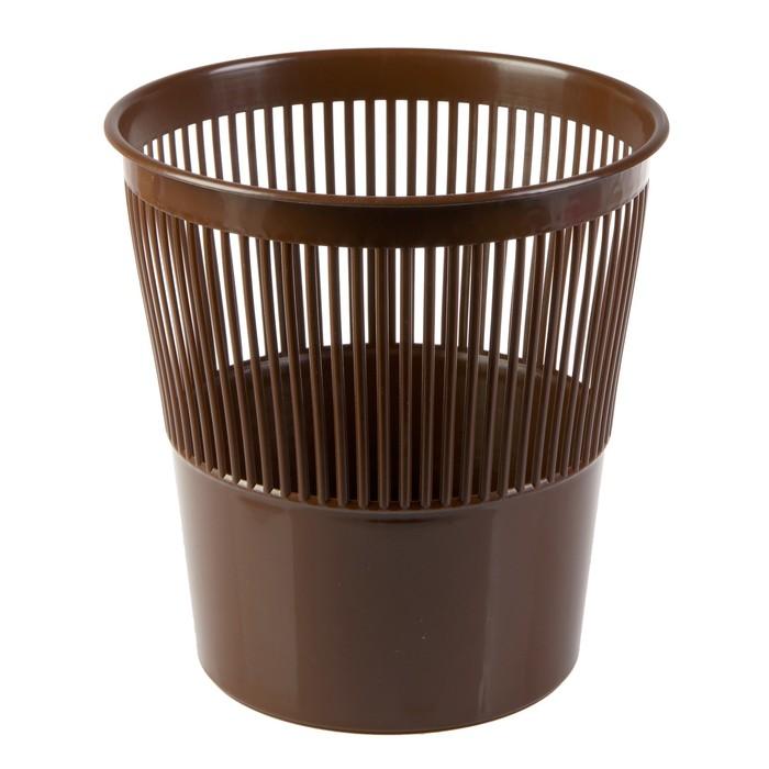 Корзина для бумаг 9 литров, сетчатая, коричневая