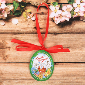 """Souvenir wooden tape """"Christ is Risen!"""" 5 x 6.4 cm"""