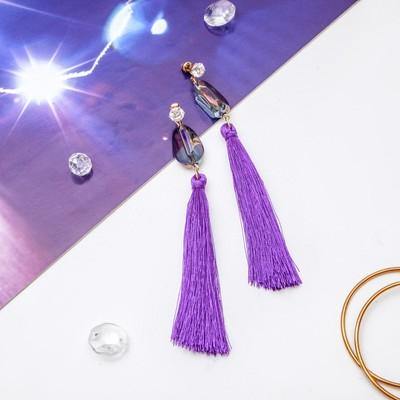 """Серьги ассорти """"Кисти"""" перламутр, цвет фиолетовый в золоте, L кисти 6,5 см"""