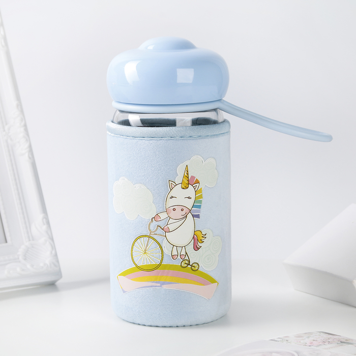 """Бутылка в чехле 420 мл """"Единорожек"""", рисунок МИКС"""