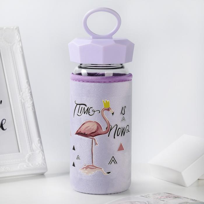 "Бутылка в чехле 400 мл ""Фламинго"", рисунок МИКС"