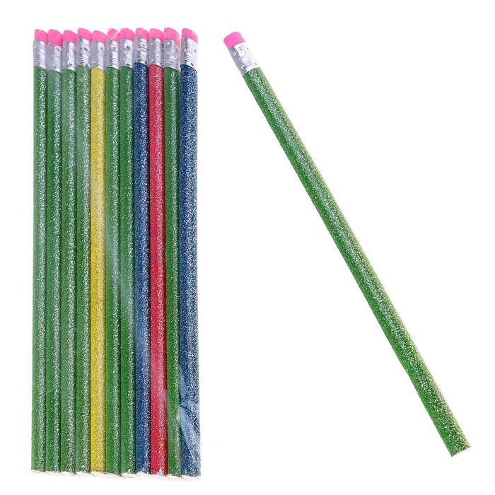 Набор карандашей чернографитных с ластиками 12шт НВ С блестками