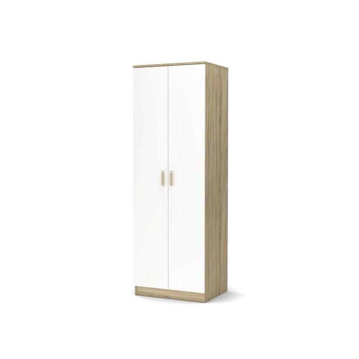Шкаф 2-х створчатый малый с полками Эксон 676х518х2000 дуб сонома/белый