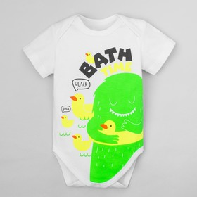 """Bodysuit Baby I """"Monster. Bath time"""", white, R. 26, height 74-80 cm"""