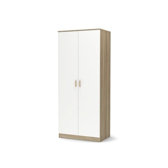 Шкаф 2-х створчатый большой с полками Эксон 858х518х2000 дуб сонома/белый