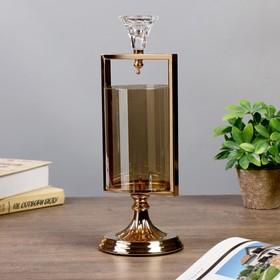 """Подсвечник металл, стекло на 2 свечи """"Элис"""" золото 28,5х12х12 см"""
