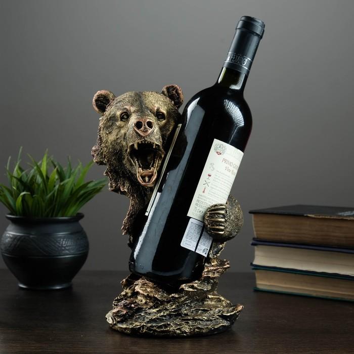 """Подставка под бутылку """"Медведь"""" бронза 15х16х25см"""
