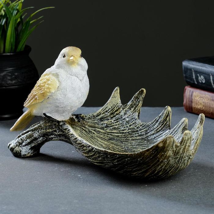 """Подставка под мелочи """"Лосиный рог с птичкой"""" акрил 28х15х14см"""