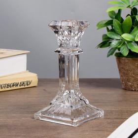 """Подсвечник стекло на 1 свечу """"Колонна с прямоугольная"""" прозрачный 16,5х8,3х8,3 см"""