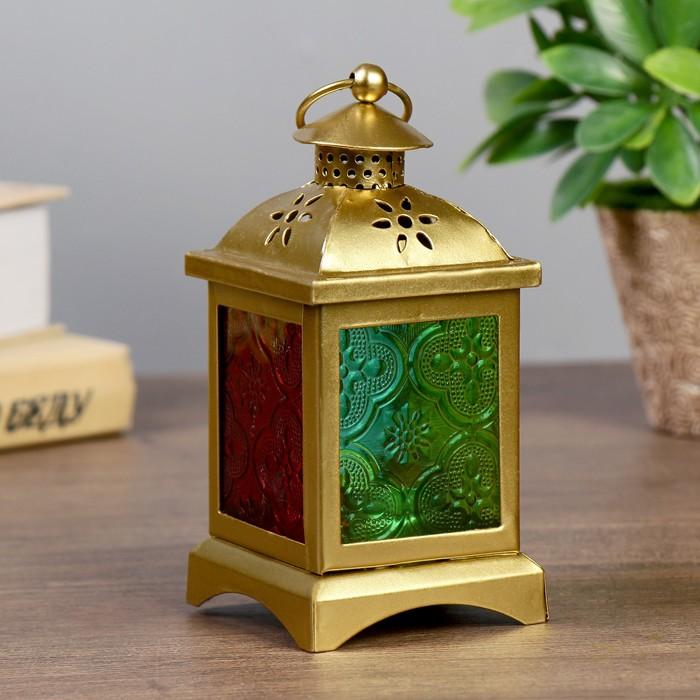 Подсвечник металл, стекло на 1 свечу ''Фонарик с витражными стёклами'' золото 14,5х7х7 см   4098132