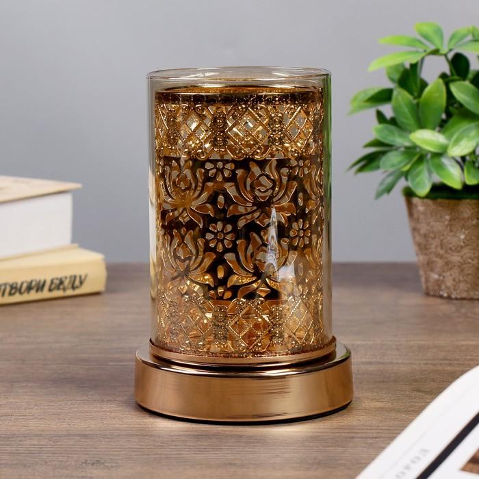 """Подсвечник металл, стекло на 1 свечу """"Арабеск"""" золото 18х12х12 см"""