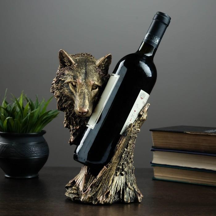 "Подставка под бутылку ""Волк"" бронза 14х16х25см"