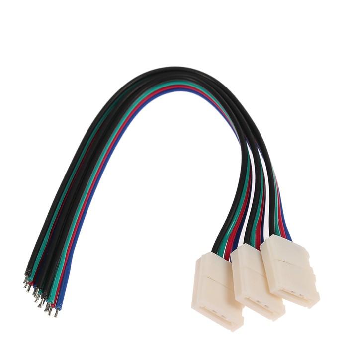 Соед. кабель Ecola LED strip connector, с одним 4-х конт.,разъемами, 10 мм, 15 см. уп. 3 шт.