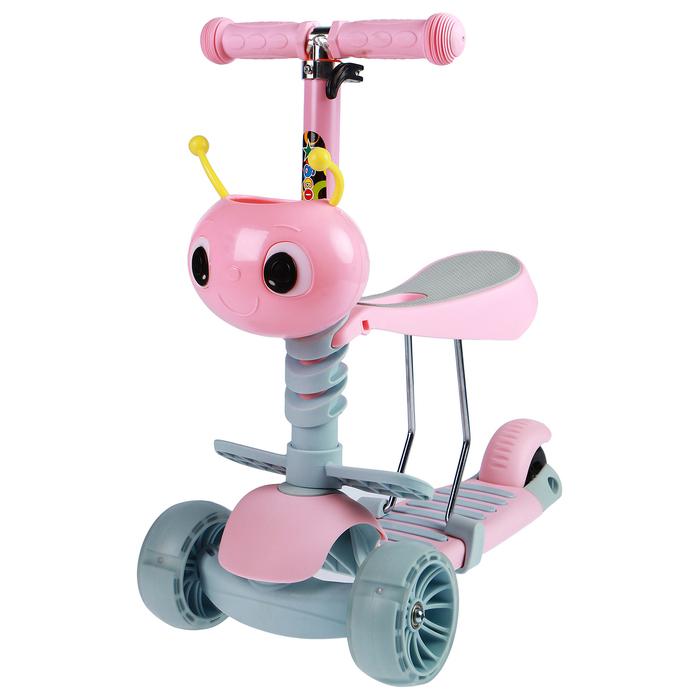 Самокат стальной 3 в 1, колёса световые PU d=110х50, 80х45 мм, ABEC 7, цвет розовый