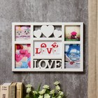 """Фоторамка пластик на 5 фото 10х10, 10х15, 10х17 см """"Три сердца - любовь"""" белая 27,5х40 см"""
