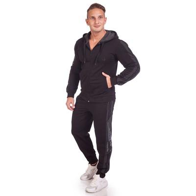 Костюм мужской (толстовка, брюки), цвет чёрный, размер 48-50 (XL)