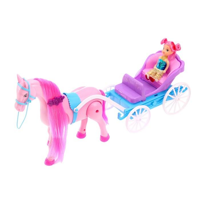 """Карета для кукол """"Сказка"""" с куклой малышкой, лошадка ходит, звук цвета: В ПАКЕТЕ"""