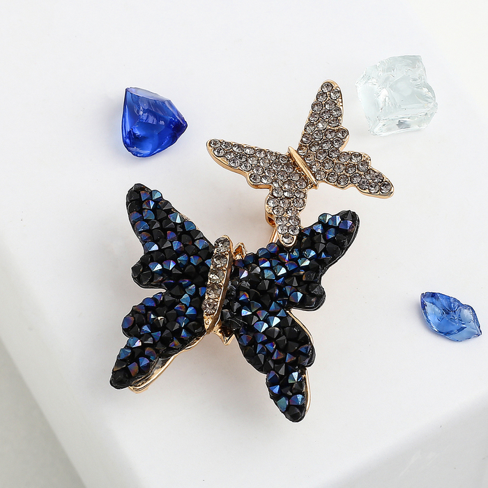 """Брошь """"Бабочки"""", цвет сине-черный в золоте - фото 245325254"""