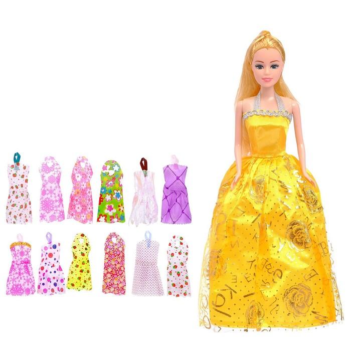 """Кукла модель """"Люсинда"""" с набором платьев, с аксессуарами цвета:МИКС  в пакете"""