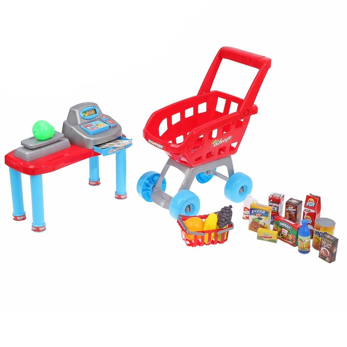 """Набор игр """"Супермаркет"""" касса, тележка.   в пакете"""