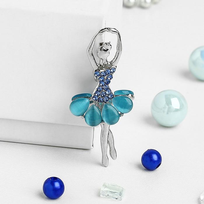"""Брошь """"Балерина"""" цветочек, цвет голубой в серебре"""