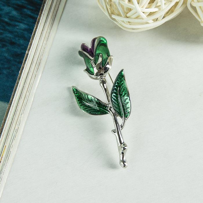 """Брошь """"Цветок"""" тюльпан, цветная в серебре"""