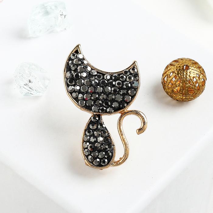 """Брошь """"Кошечка"""", цвет черный в золоте"""