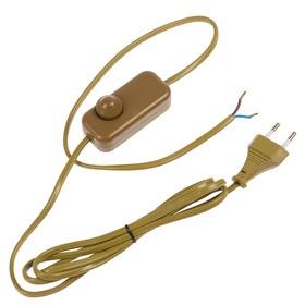 Сетевой шнур с диммером FERON, 200 Вт, 230 В, 1,5+0,5 м, цвет золотой