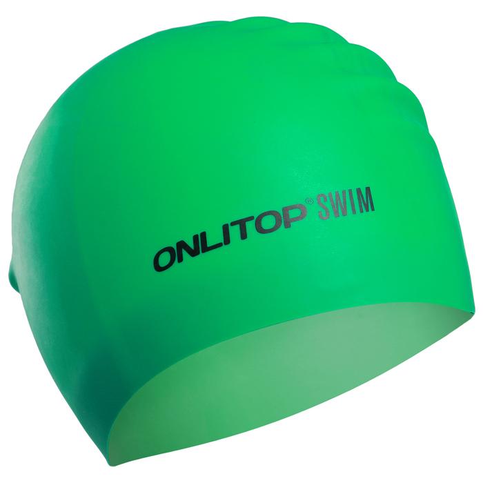 Шапочка для плавания, для длинных волос, цвет зеленый