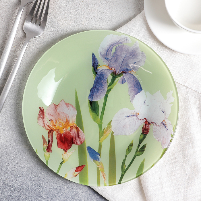 Тарелка десертная Доляна «Ирисы», d=20 см - фото 798179865