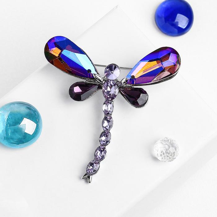 """Брошь """"Стрекоза"""" бриллиант, цвет фиолетовый в серебре"""