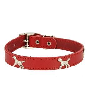 """Ошейник кожаный """"Флер"""" украшенный """"Собака"""", ОШ 39-46 х 2,5 см, красный"""