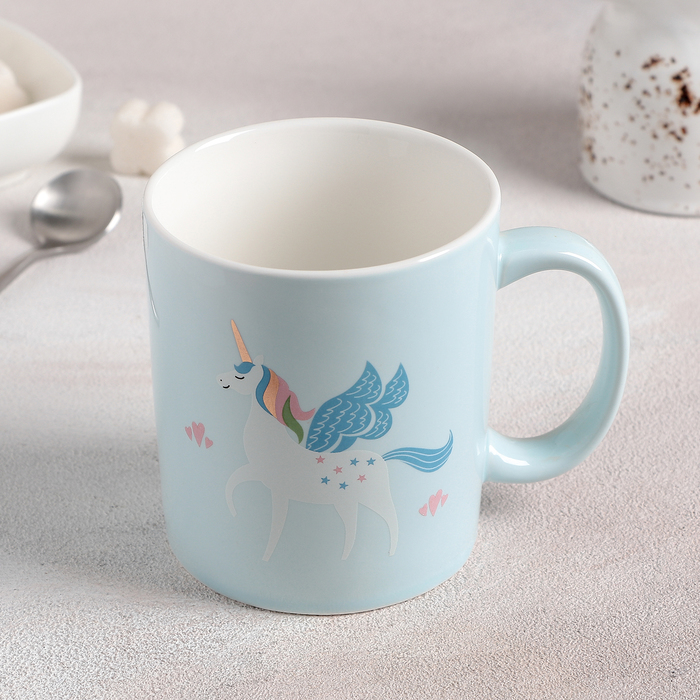 """Кружка 420 мл """"Единорог"""", цвет голубой - фото 658524"""